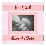 Baby Shower Save the Date Pink and Brown Girl Personalized Invite