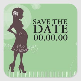 Baby Shower Save the Date Square Sticker