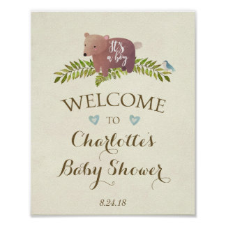 baby shower sign blue it's a boy woodland bear poster
