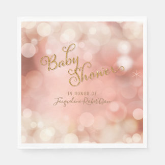Baby Shower Simple Magical Bokeh Sparkle Twinkle Paper Napkin