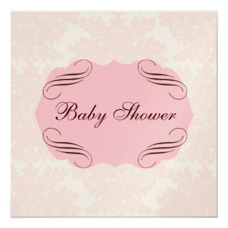 Baby Shower Simply Pink Damask Invitation