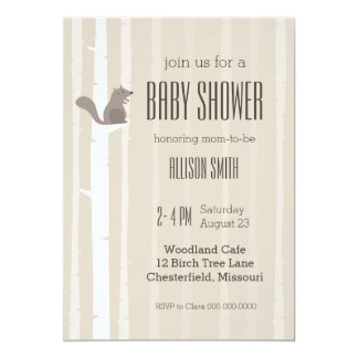 Baby Shower Squirrel Birch Tree Brown Invitation 2