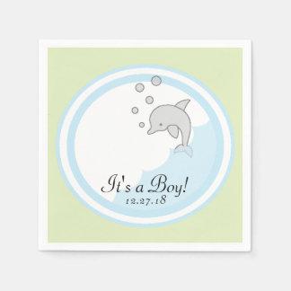 Baby Shower Standard Cocktail Napkin Dolphin Bl/Gr Disposable Napkins