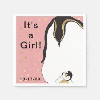 """Baby Shower Standard Napkin """"Gold/Pink Penguin"""""""