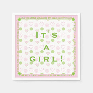 "Baby Shower Standard Napkin ""Sugar and Spice"" Paper Napkin"