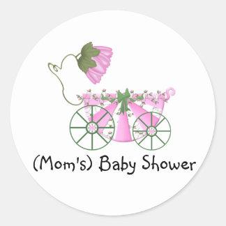 Baby Shower Sticker-Cute Pink Bathtub Classic Round Sticker