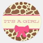 Baby Shower Sticker - Giraffe Print and Pink