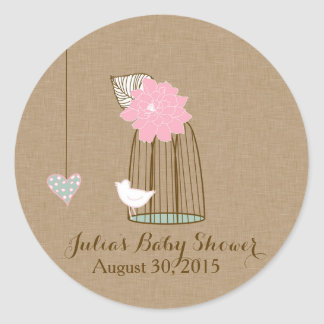 Baby Shower Sticker Hanging Cages & Jars Pink Mint