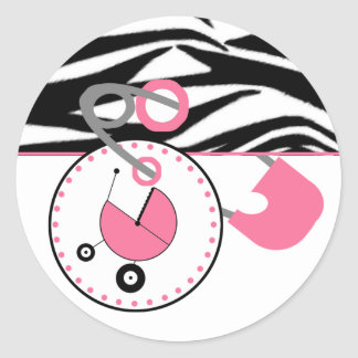 Baby Shower Sticker -Zebra Print & Pink Diaper Pin