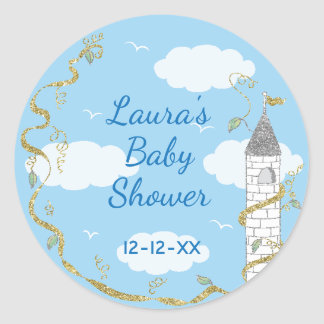 "Baby Shower Stickers ""Glittery Castle 1 1/2"" or 3"""