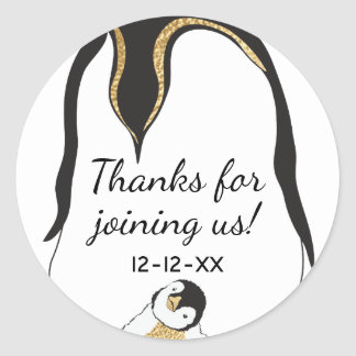 "Baby Shower Stickers ""Gold Baby Penguin"""
