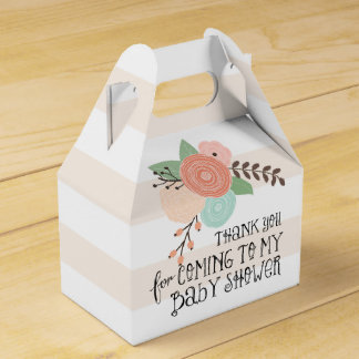 Baby Shower Stripes and Flowers Custom Favor Box