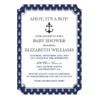 Baby Shower | Stylish Formal Navy Nautical Anchor Card