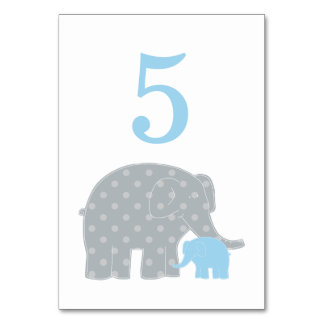 Baby Shower Table Number | Blue Gray Elephant