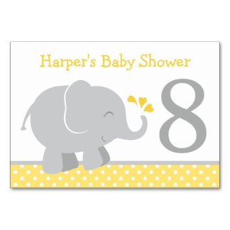 Baby Shower Table Number | Yellow Gray Elephant