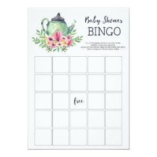 Baby Shower Tea Party Bingo Game Card