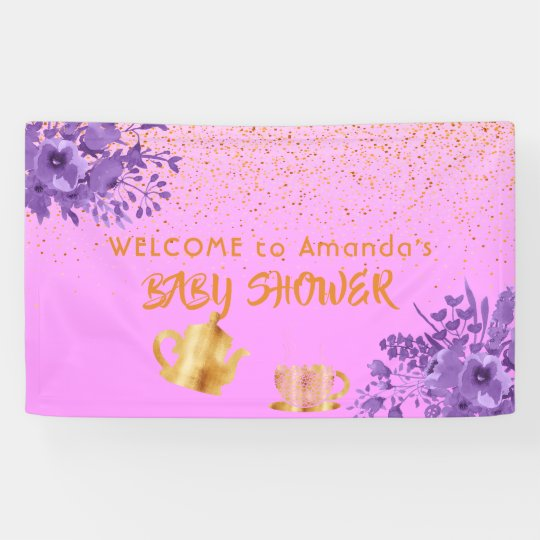 Baby Shower tea party welcome faux gold confetti Banner