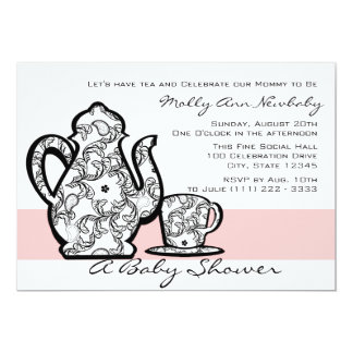 """Baby Shower Tea with Changable Color 5"""" X 7"""" Invitation Card"""