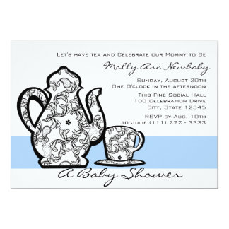 "Baby Shower Tea with Changable Color 5"" X 7"" Invitation Card"
