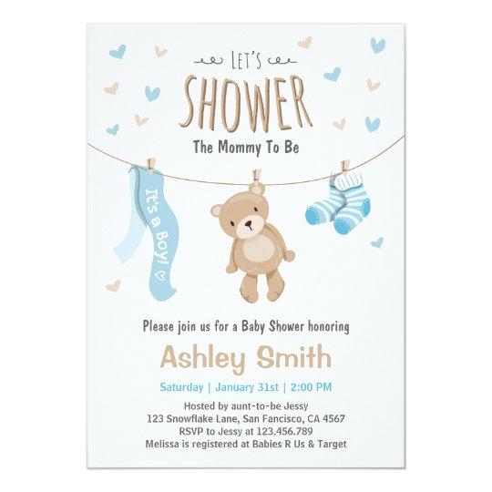 baby shower teddy bear invitation baby boy zazzle ca