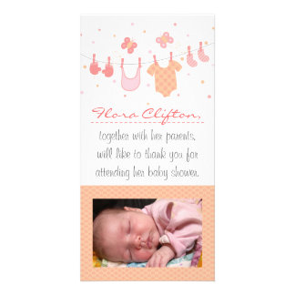 Baby shower Thank You: Baby clothes on clothesline Customized Photo Card