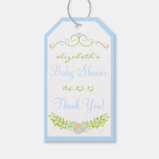 Baby Shower Thank You Blue Floral Wreath Pack Of Gift Tags