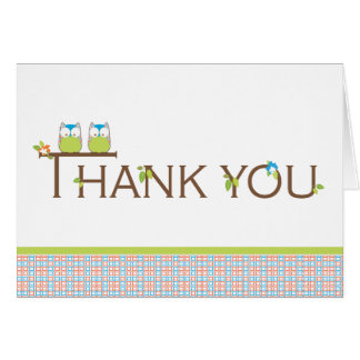 Baby Shower Thank You - Blue Twin Baby Owls Stationery Note Card