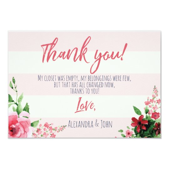 Baby Shower THANK YOU Card Floral Pink