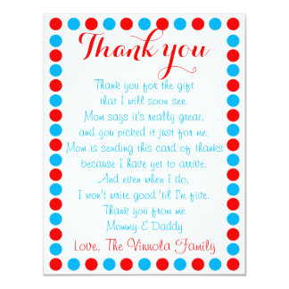 "Baby shower thank you card from baby 4.25"" x 5.5"" invitation card"