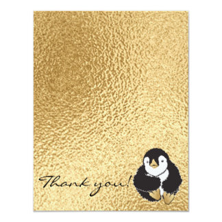 """Baby Shower Thank You Card, """"Penguin Gold"""" Card"""