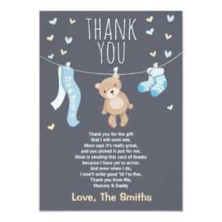 Baby Shower Thank You Card Teddy Bear blue