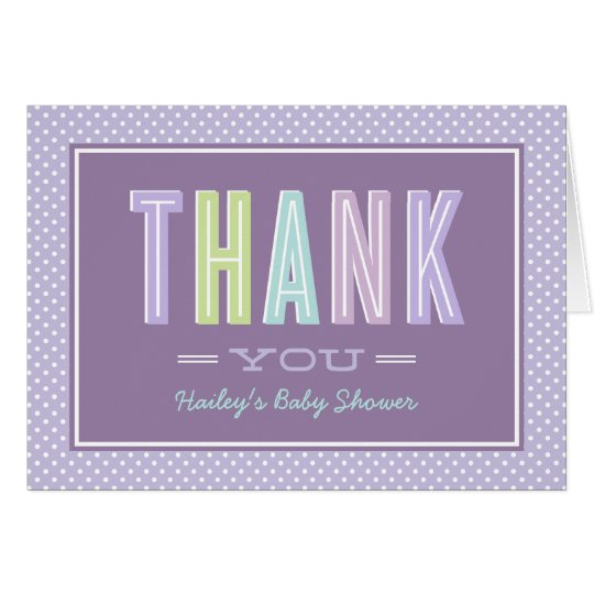 Baby Shower Thank You | Chic Type in Purple Card