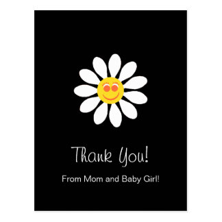 Baby Shower Thank You Cute Happy Face Girly Daisy Postcard