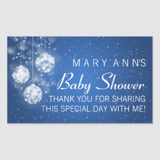 Baby Shower Thank you Festive Baubles Blue Rectangle Stickers
