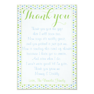 """Baby Shower Thank You from baby Card 3.5"""" X 5"""" Invitation Card"""