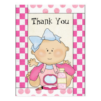 Baby Shower Thank you girl postcard