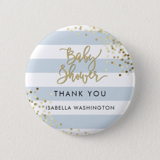 Baby Shower Thank You Gold Calligraphy & Confetti 2 Inch Round Button