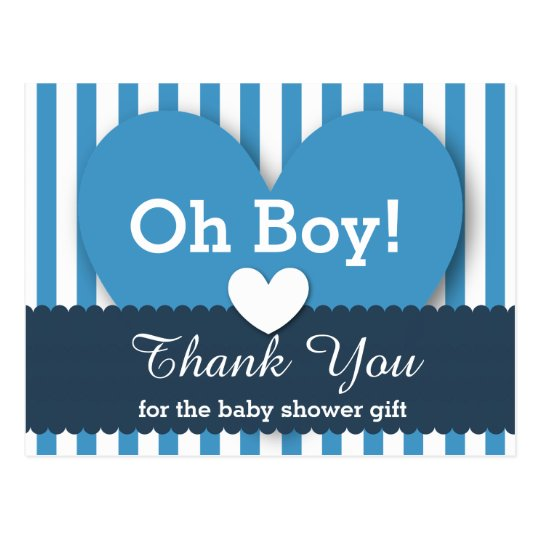BABY SHOWER THANK YOU Hearts Stripes V05 BLUE Postcard