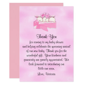 Baby Shower Thank You It's Triplets Girl Card