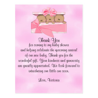 Baby Shower Thank You It's Triplets Girl Ethnic Postcard