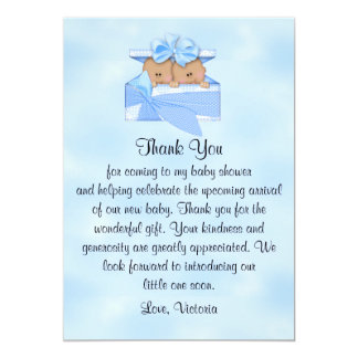 Baby Shower Thank You It's Twins Boy Card