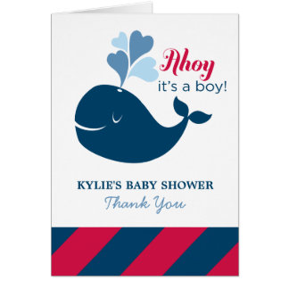 Baby Shower Thank You | Nautical Whale Theme Card