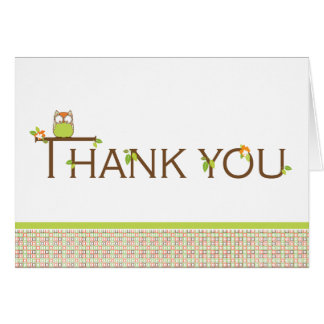 Baby Shower Thank You -  Neutral Baby Owl Card