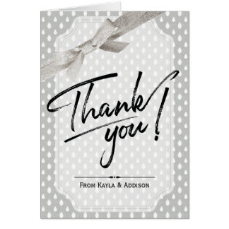 Baby Shower Thank You | Neutral Gray Raindrops Card