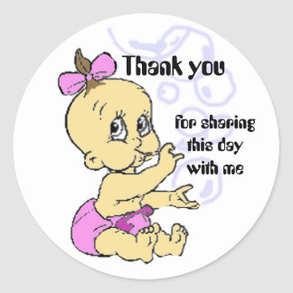 Baby Shower thank you note Classic Round Sticker