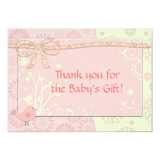 Baby Shower Thank You Note Pink Frilly Card