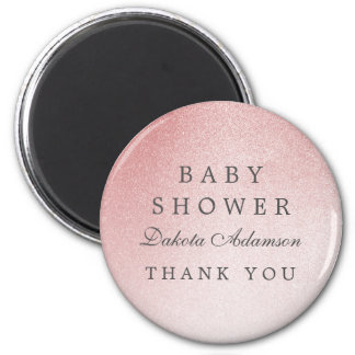 Baby Shower Thank You | Ombre Rose Gold Glitter 2 Inch Round Magnet