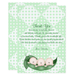 Baby Shower Thank You Triplets Peas in a Pod Card