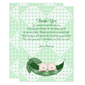 Baby Shower Thank You Twins Peas in a Pod Card