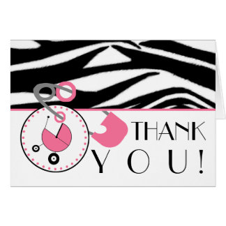 Baby Shower Thank You - Zebra Print & Diaper Pin Card